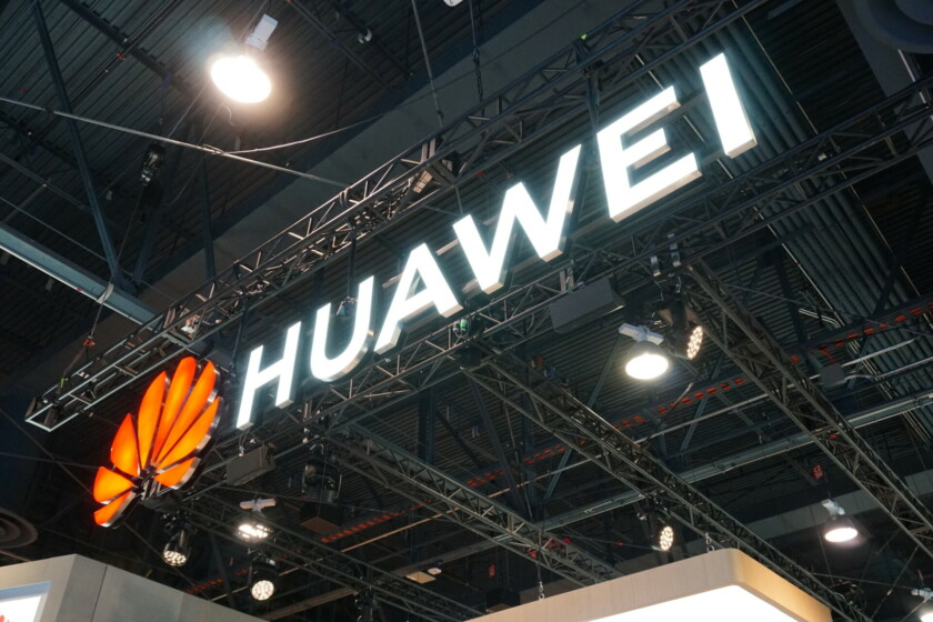 The Huawei logo at CES 2019.