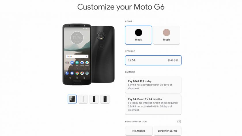 Google Fi deal on the Motorola Moto G6.