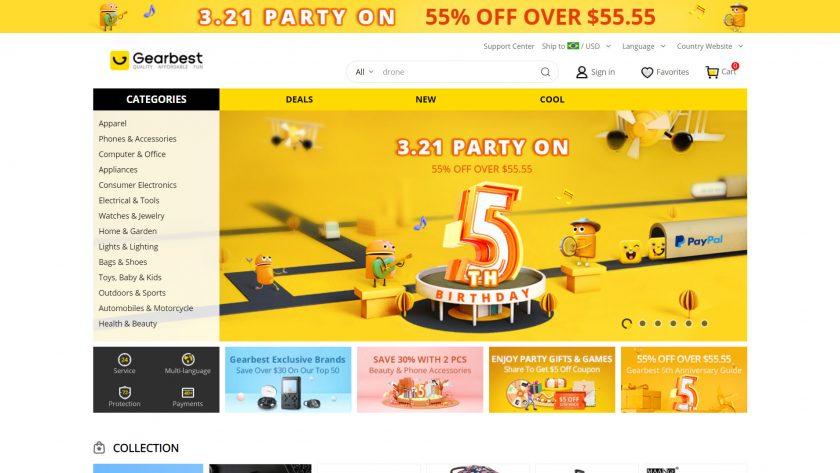 The Gearbest website.