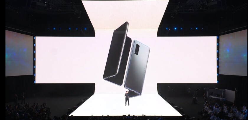 The Samsung Galaxy Fold foldable phone.