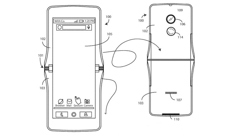An image showing the Motorola foldable phone patent.