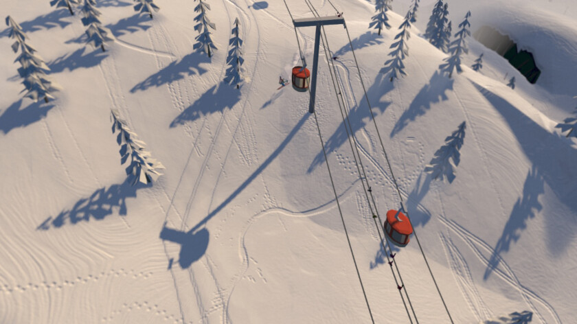 A screenshot from the new skiing game Grand Mountain Adventure.