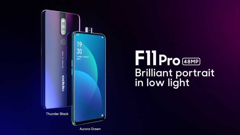 Promo screenshoot of the front and back side of the Oppo F11 Pro with a pop-up selfie camera.