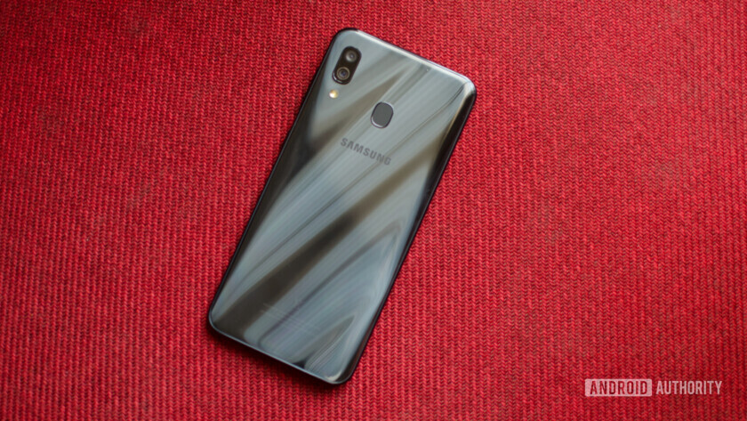 Samsung Galaxy A30 showing gradient finish on the back