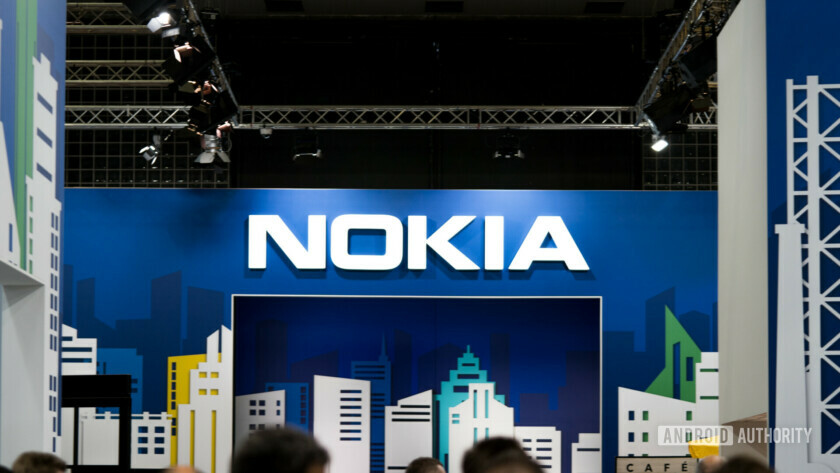 The Nokia logo on an event banner.