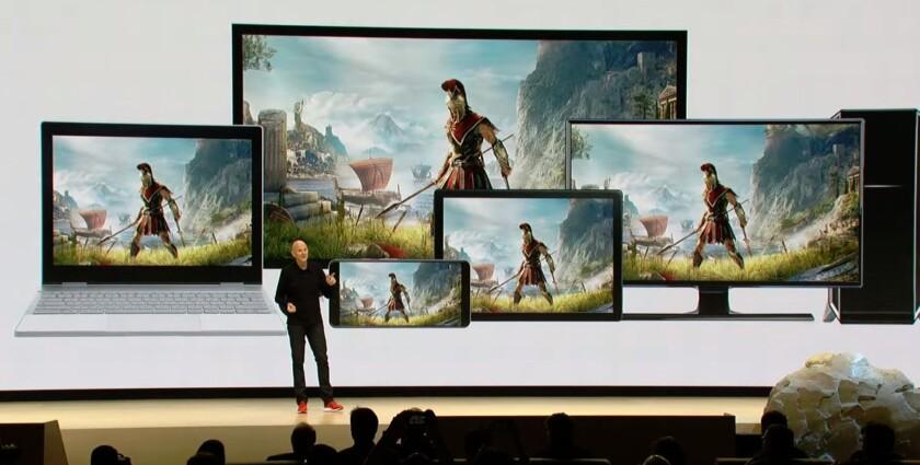 Google showing Stadia on Pixelbook, Pixel phone, desktop PC, TV, and tablet at GDC 2019