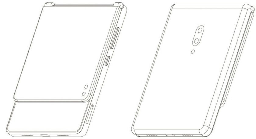 A patent design by ZTE, showing a foldable phone.