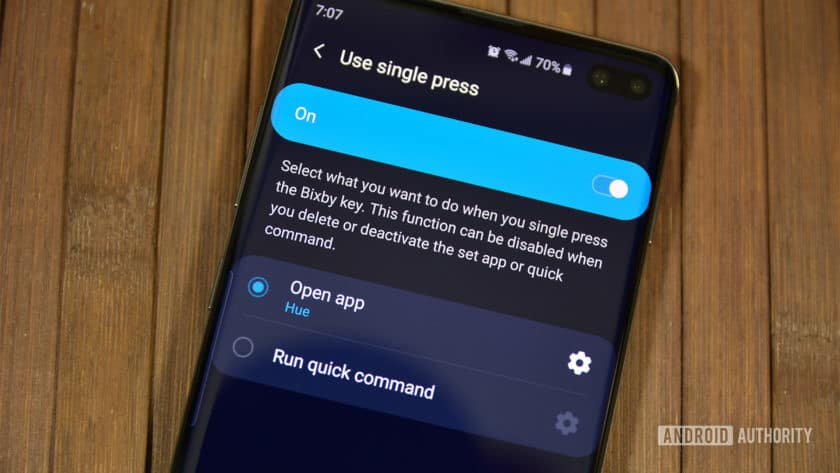 A photo of remapping the Bixby Button with a single press