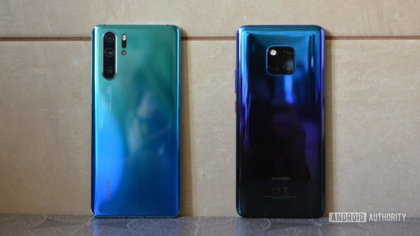 huawei p30 pro vs huawei mate 20 pro side by side twilight and aurora