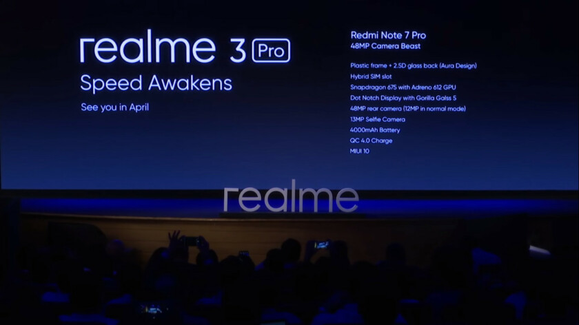 A teaser for Realme 3 Pro, with the Redmi Note 7 Pro specs.