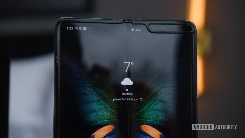 Samsung Galaxy Fold upper half tablet mode on table