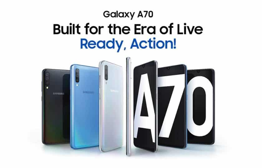 The Samsung Galaxy A70 splash page with multiple renders.