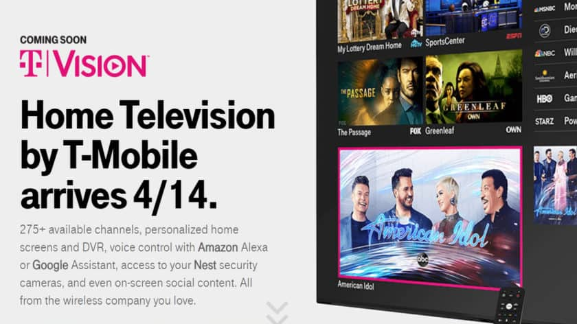 Promotional graphic for T-Mobile TVision, its cable alternative.