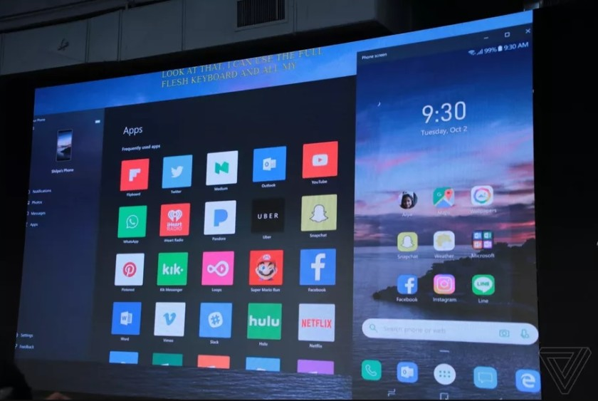 Microsoft presenting Windows 10 app mirroring at its Surface event in New York City.