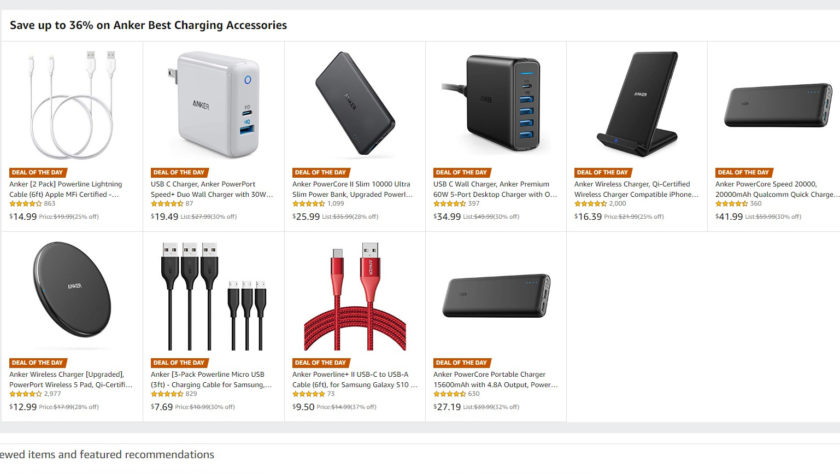 The deals page for an Amazon promotion of Anker products.