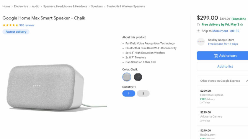 Google Home Max deal on Google Express