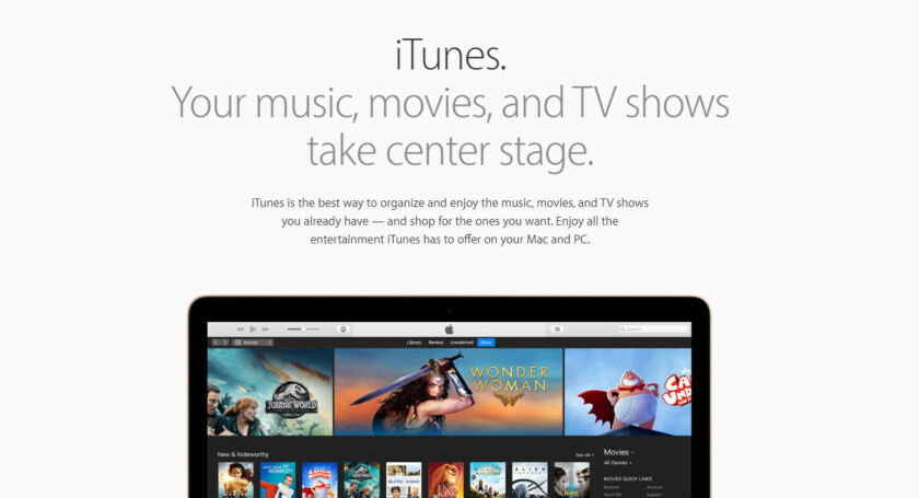 The Apple iTunes page on Apple's website.