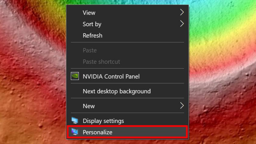 Windows 10 right-click personalize