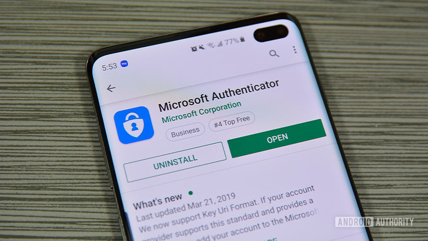 A photo of Microsoft Authenticator on the Google Play Store.