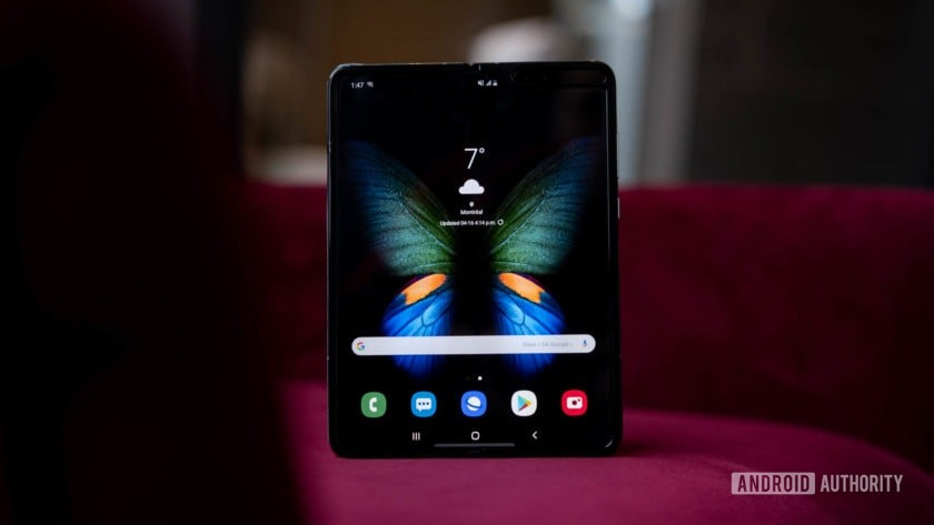 Samsung Galaxy Fold tablet mode on chair