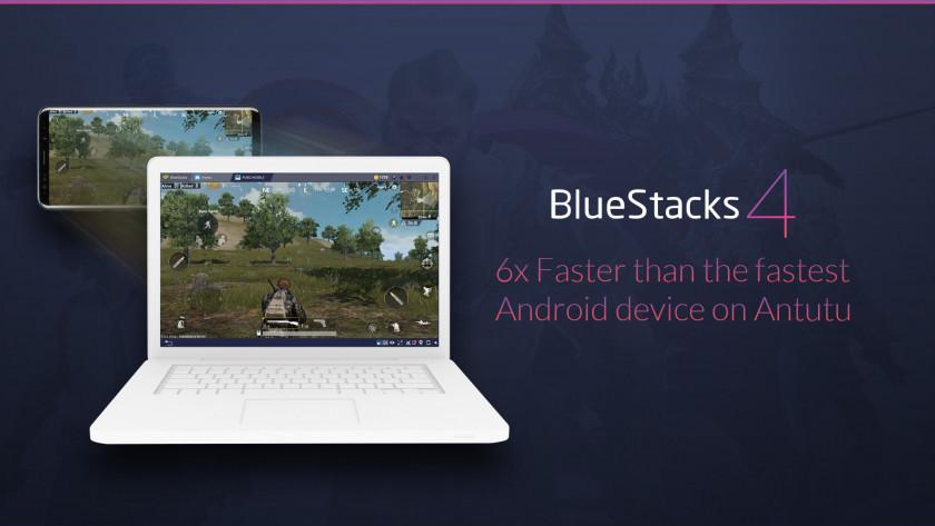Renders of BlueStacks 4 on a laptop.