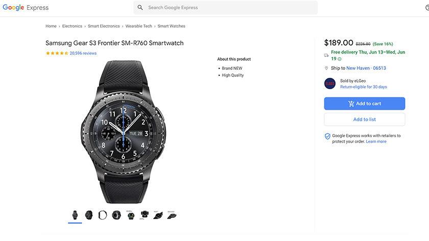 A screenshot of a Samsung Gear S3 Frontier deal.