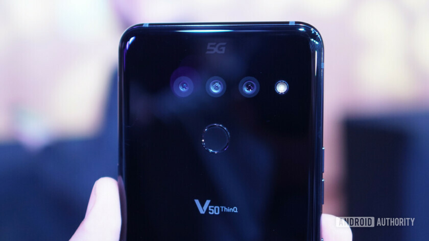 LG V50 ThinQ 5G logo closeup
