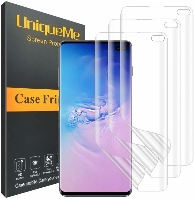 uniqueme clear film screen guard for the samsung galaxy s10 plus