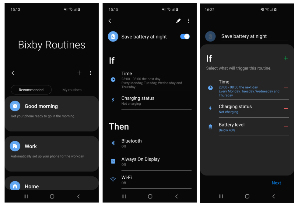 Bixby routines save battery