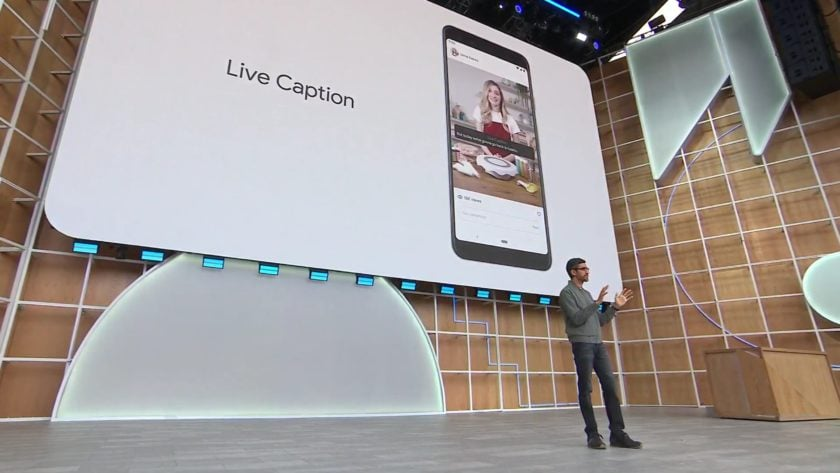 Google IO 2019 Sundar Pichai stage live caption