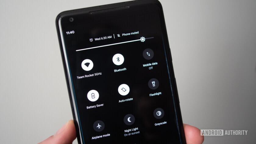 android q quick settings dark mode google pixel 2 xl