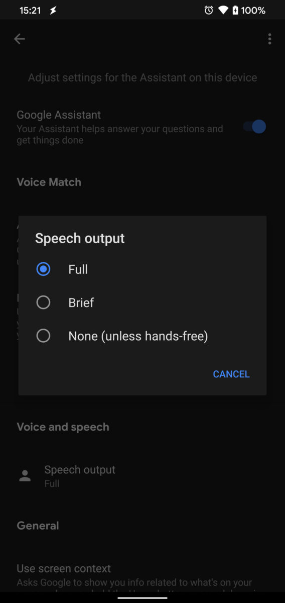 Google Assistant Speech Output Options Pixel 4