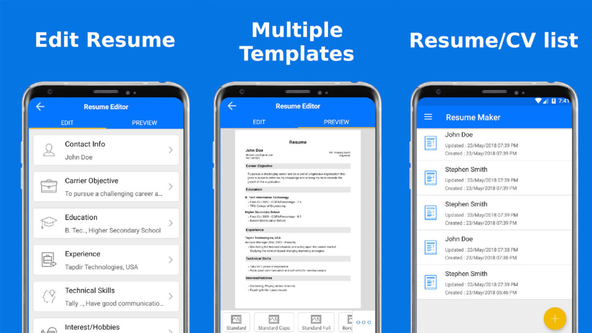 Top Resume screenshot is one of the best resume builder apps