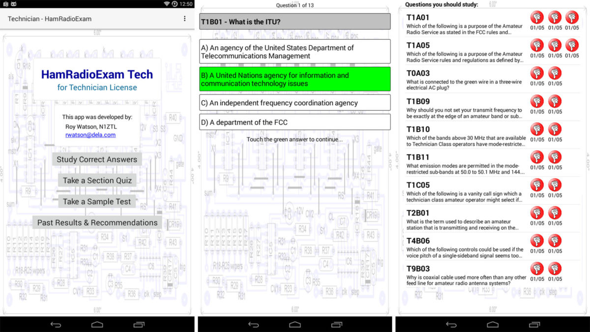 HamRadioExam screenshot for the best walkie talkie apps