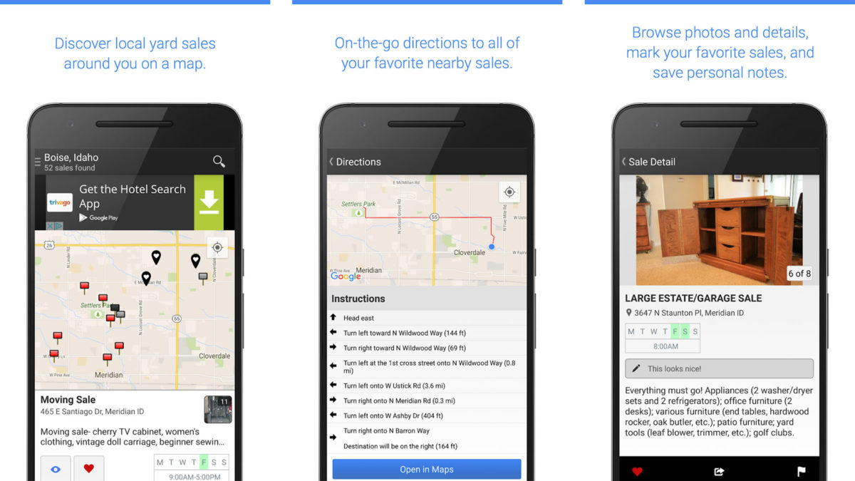 Garage Sale Map screenshot is one of the best garage sale apps for android