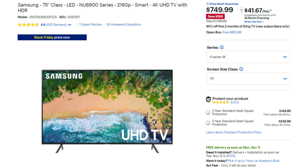 Best Buy early Black Friday deal on a Samsung 4K smart TV