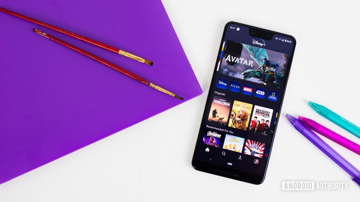 Best movies on Disney Plus - Disney Plus homepage on a phone