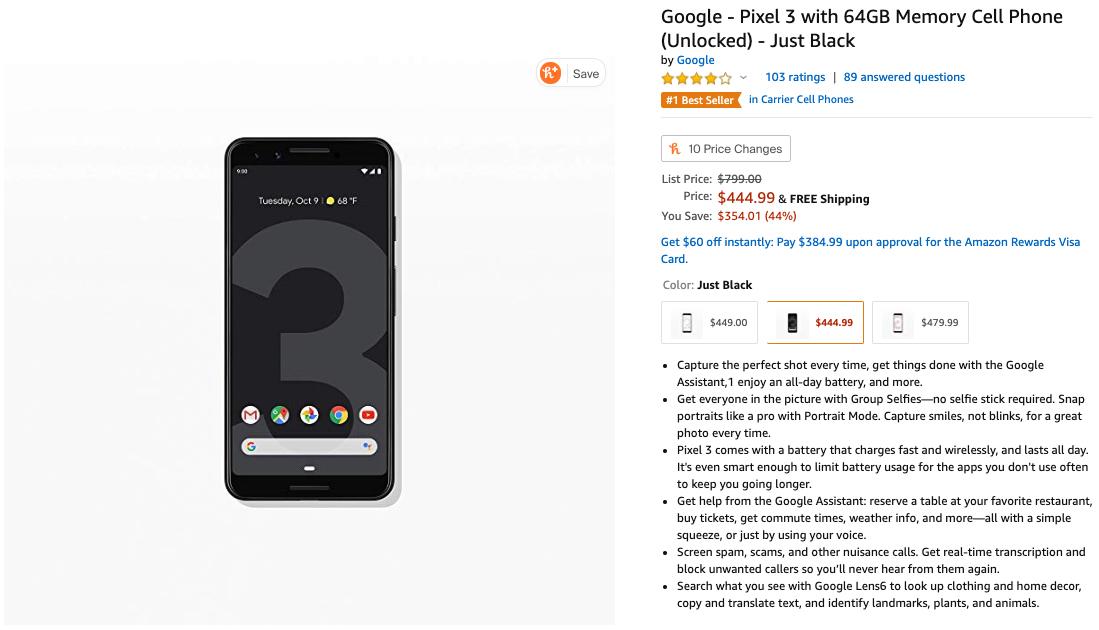 google pixel 3 deal amazon black friday 2019