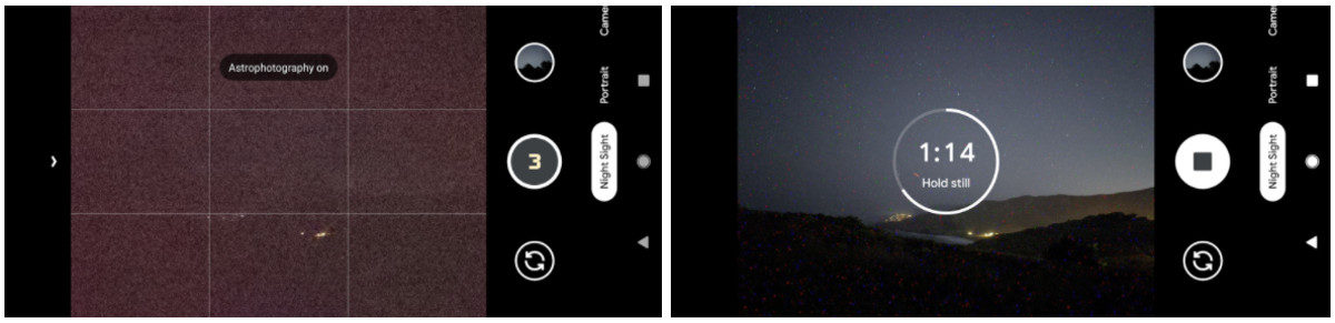 Google's solution for a dark viewfinder is to display the last captured frame.