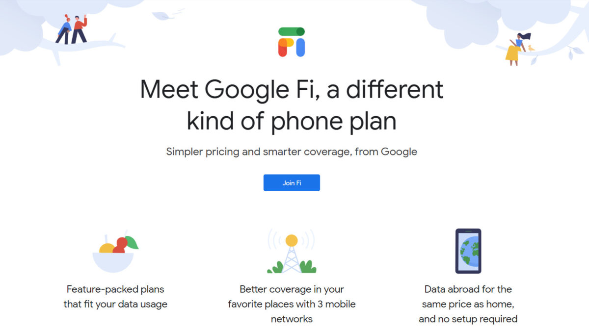 The Google Fi homepage.