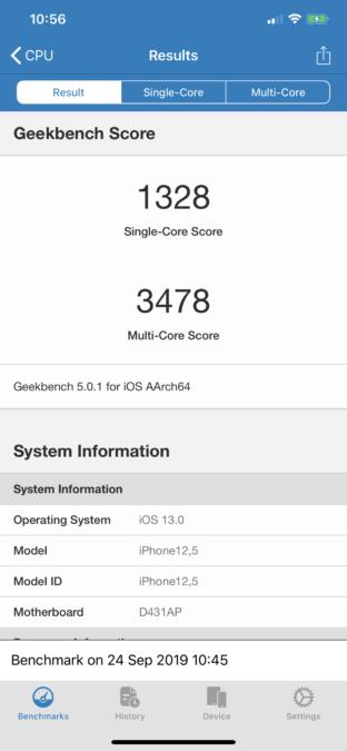 iphone 11 pro max geekbench 5