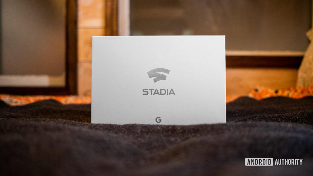 Google Stadia Founders Edition box on carpet straight on 2