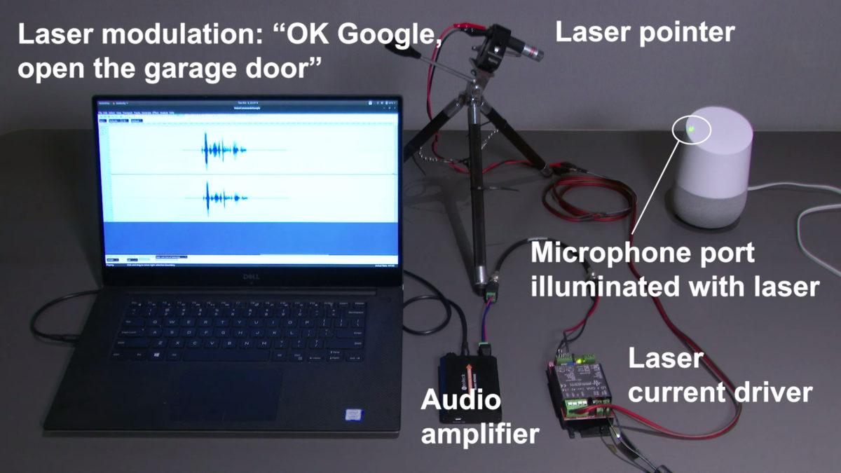 Light based smart speaker attack