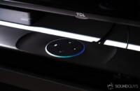 Polk Command Bar Alexa speaker with LED indicator ring lit up.