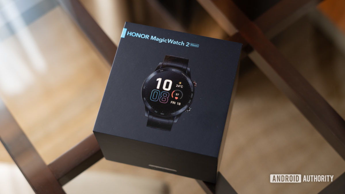 The Honor Watch Magic 2 in its box.