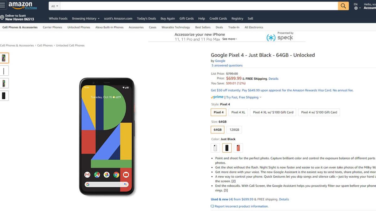 Google Pixel 4 discount Amazon