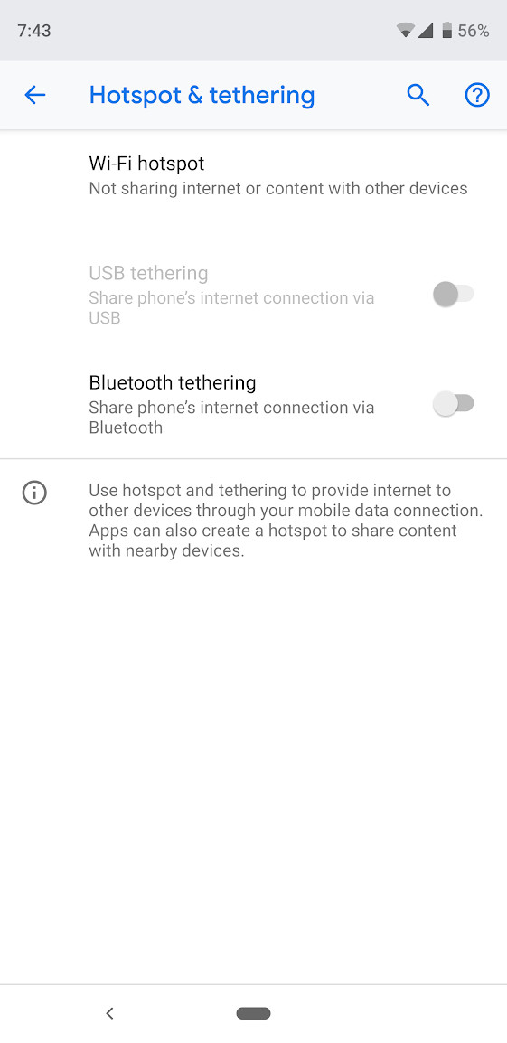 Mobile hotspot settings on Android.