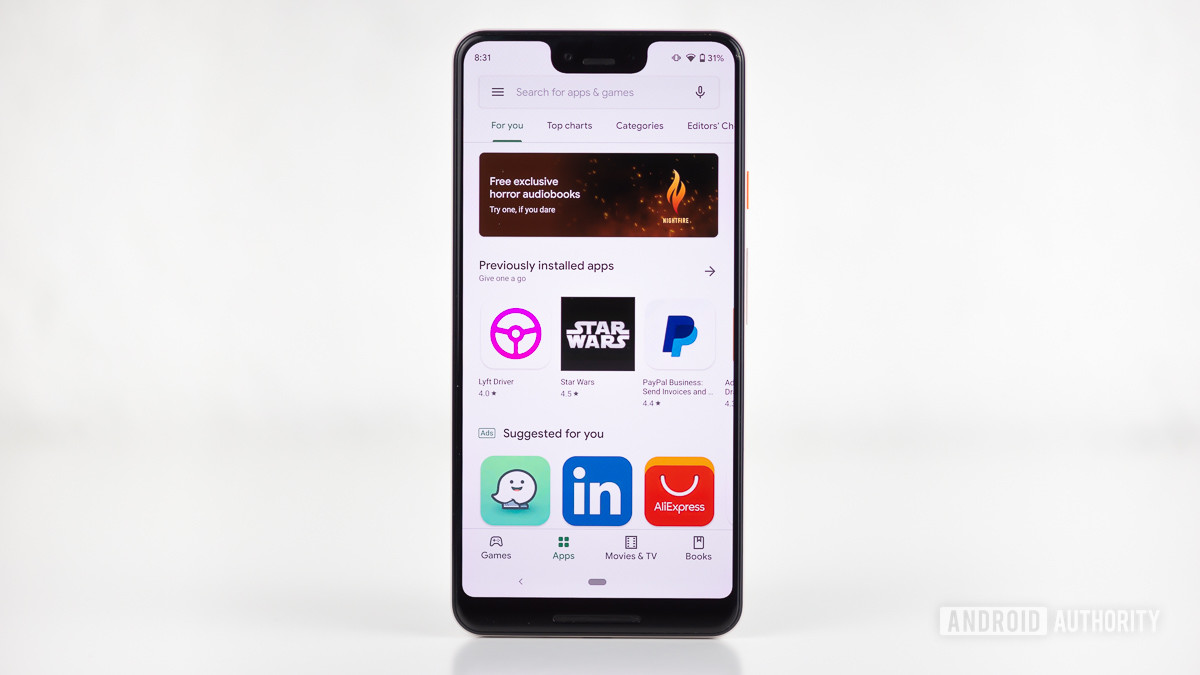 Google Play Store app showing up on Pixel 3 smartphone