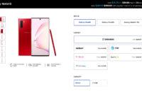 Samsung Galaxy Note 10 Aura Red sale page