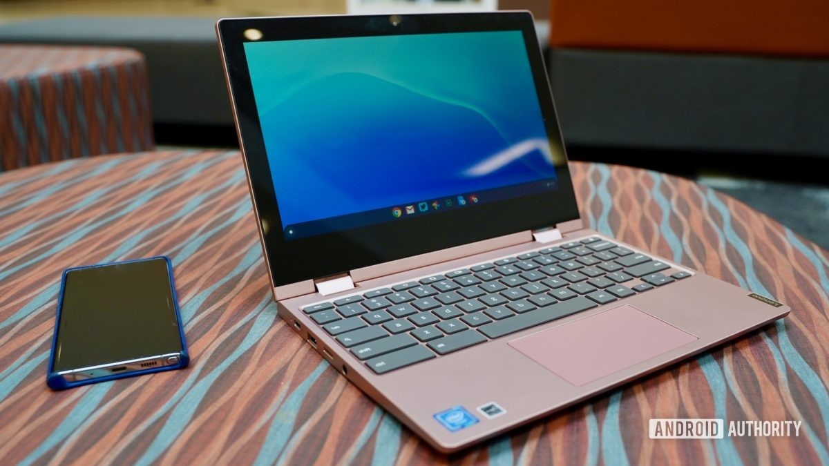 Lenovo Chromebook C340 review front view open with phone